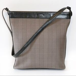 Oroton Brown Leather Trim Checkered Canvas Handbag